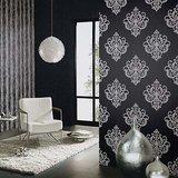 02491-10 vinyl op vlies behang zwart met zilver grijs glitter op patroon_