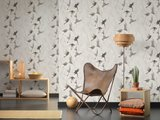as creations free nature birds taking flight  grijs wit vinyl op vlies_