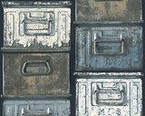 metalen container bakken behang papier_