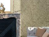 epic faded splendour ornament groen taupe  tinten  op beton look/oude cottage muur vlies_