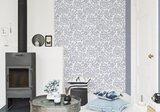 wit linnen  met navy blauw tijdloos patroon  vinyl op vlies behang_