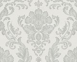 Barok behang  met voelbaar reliëf Wit / grijs /zilver_