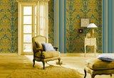 Vlies Barock petrol  goud Rasch En Suite 546453 zachte glans vinyl_