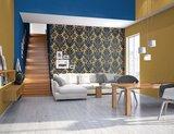 Vlies Barock blauw goud Rasch En Suite 546125 zachte glans vinyl_