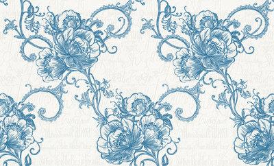 947765 La romantica petrol blauw wit behang barok VLIES 1,06 breed dus 2 rollen in 1 met romantische teksten wit op wit