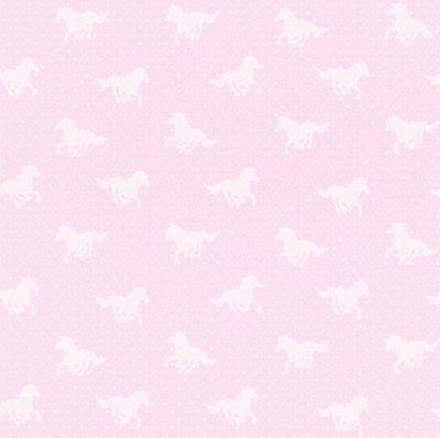 290417 roze paardenbehang met wit stipjes