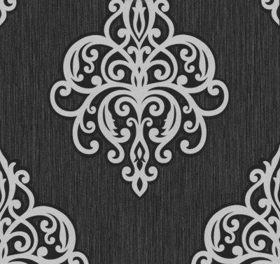 02491-10 vinyl op vlies behang zwart met zilver grijs glitter op patroon