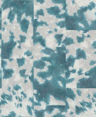 Rasch Uitverkoop 498219 turquoise koeienhuid vlies