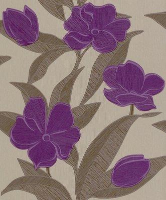 Rasch Uitverkoop 788129 plaisir  purple flowers paars en taupe  vlies
