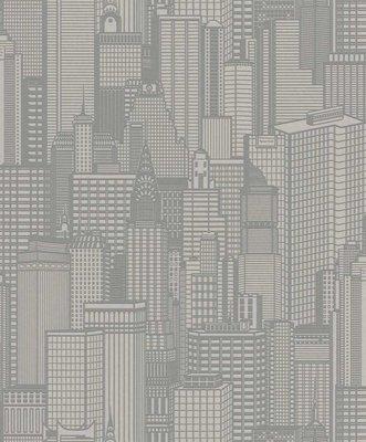 Rasch Uitverkoop 795134 Sightseeing new york wolkenkrabbers grijs vlies