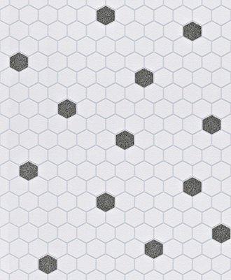 Rasch Uitverkoop 861907 mozaiek vlies met glitter vlies zwart wit