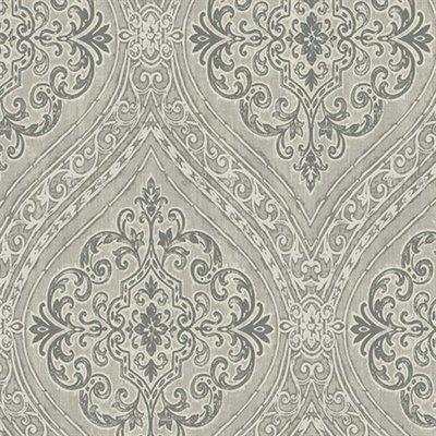 etten wallcovering mercury damask grijs met zilver  offwhite metallic vlies