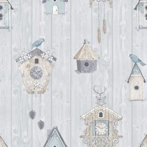 vogelhuisjes behang 229004