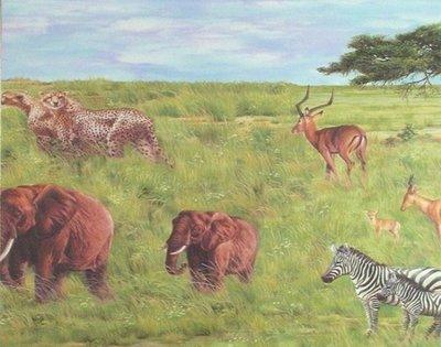 7699-16 behangrand safari jungle wilde dieren dubbelbreed