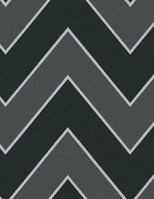 Zwart/grijs chevron streep behang 93943-2