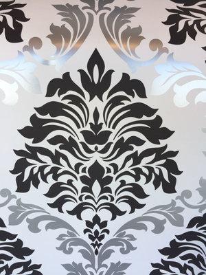 Barok behang zwart wit zilver 54