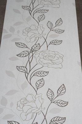 845-01 bloemen behang zwart wit