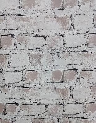 BE behang 23731 Stenen in het wit en bruin /taupe