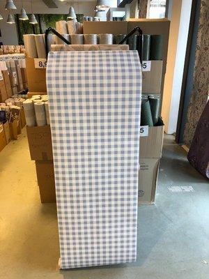 blauw ruitjes behang papier