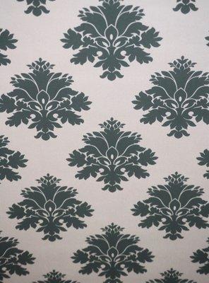 Vinyl op vlies behang 68516 Noordwand barok groen op creme