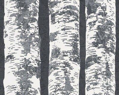 vlies met zwart wit berken bomen