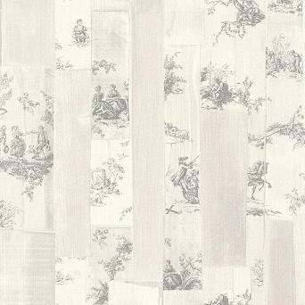Rasch Behang 302325 toile de jour met hout effect licht grijs
