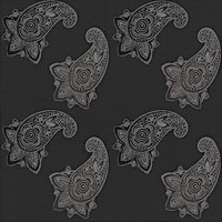 Eijffinger  Bindi 397862 xtra breed paisley print op zwart weefsel print