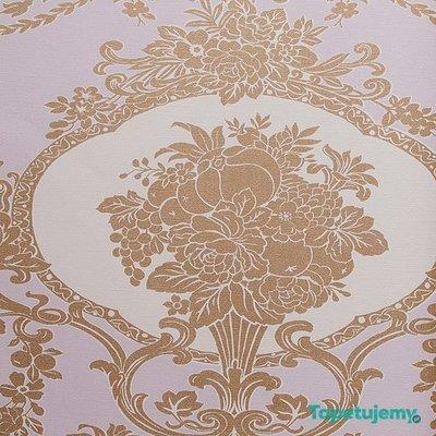 eijffinger grand gala zacht roze met goud barok  2e foto is voorbeeld patroon op de muur