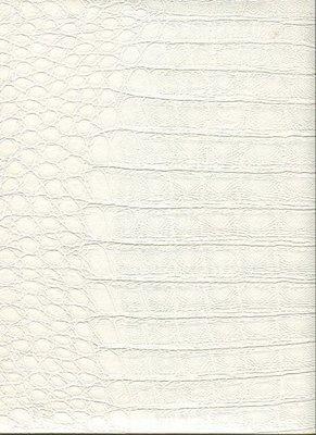 2S0202 2nd Skin Crocodile Skin  pure white schitterende huid croco spierwit relief vinyl op vlies