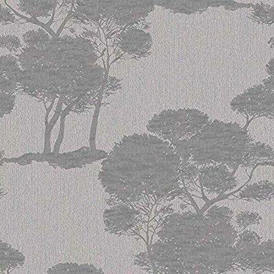 Darcy Forest Wood Tree vlies grijs met zilver glitter op bomen metallic achtergrond