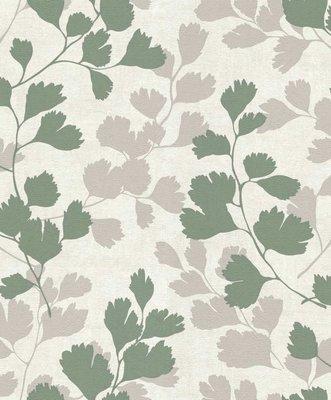 dubbel breed 1,06m bladeren trendy groen en taupe tinten