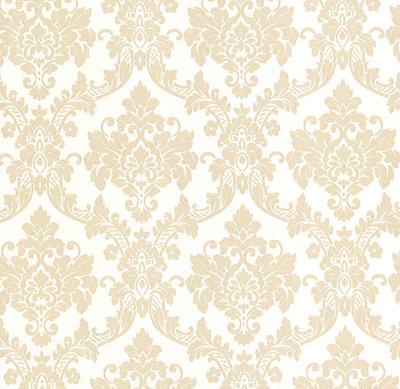 13701-50 barok vlies wit met patroon van gouden glitter