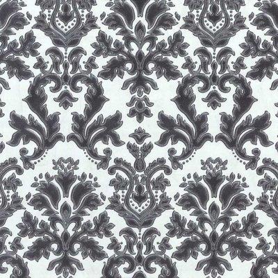 02485-30 vinyl op vlies behang wit zwart met zilver glitter op patroon