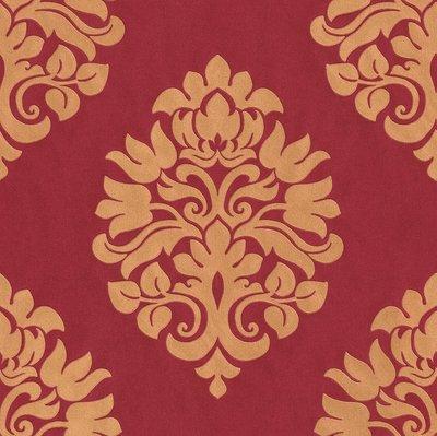 545708 rach en suite vinyl op vlies  goud /rood