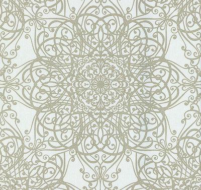02465-20vinyl op vlies behang wit crème met goud glitter op patroon