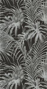 51157829/30588-6 zwart zilveren jungle bladeren vlies