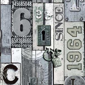 jw3918   sloophout vinyl met letters en sloten