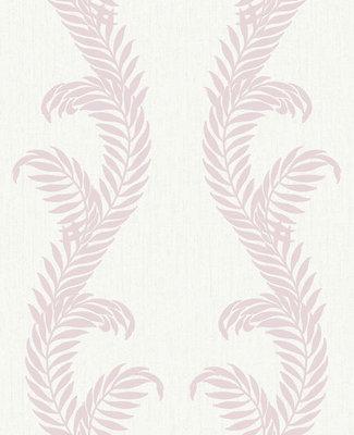 Vlies behang 32-965 Graham&Brown wit camee roze met zilver glitter