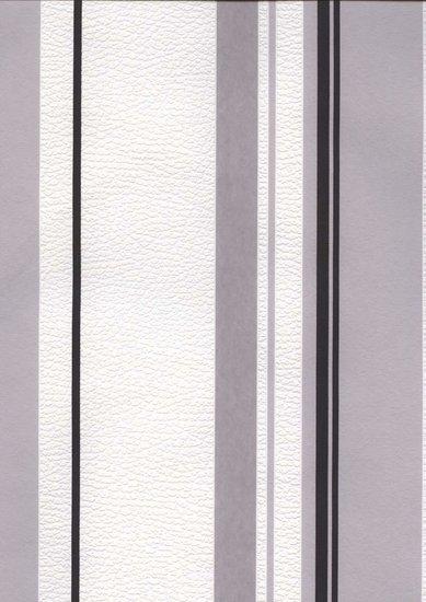 Afbeelding van 1255 52 zwart wit grijs strepen vlies
