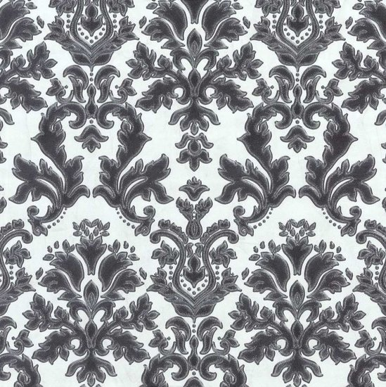 Afbeelding van 02485 30 vinyl op vlies behang wit zwart met zilver glitter patroon