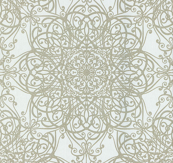 Afbeelding van 02485 30 vinyl op vlies behang wit crème met goud glitter patroon