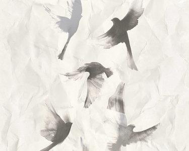 as creations free nature birds taking flight  grijs wit vinyl op vlies