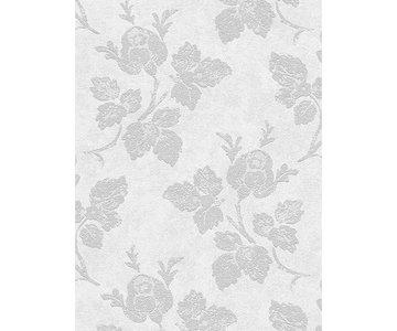 creme grijs vlies behang met bloemen en zacht glitter effect