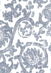 wit linnen  met navy blauw tijdloos patroon  vinyl op vlies behang