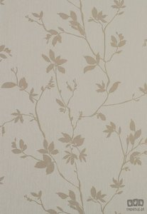 creme beige floraal  zijde druk vliesbehang