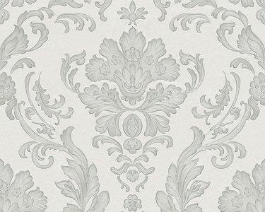 Barok behang  met voelbaar reliëf Wit / grijs /zilver