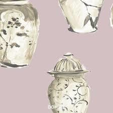 The Empress chinese vazes collection roze vlies 2 e foto voorbeeld patroon gele kleur