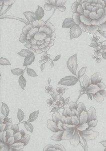 rasch textil exclusief splendour of  stylish luxury  Flower wit grijs