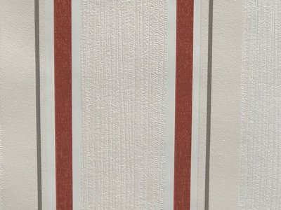Streep wit / rood vinyl op vlies 18561
