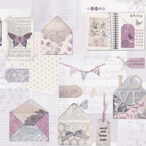 1Scrapbook behang met romantische plaatjes Behangexpresse 23726